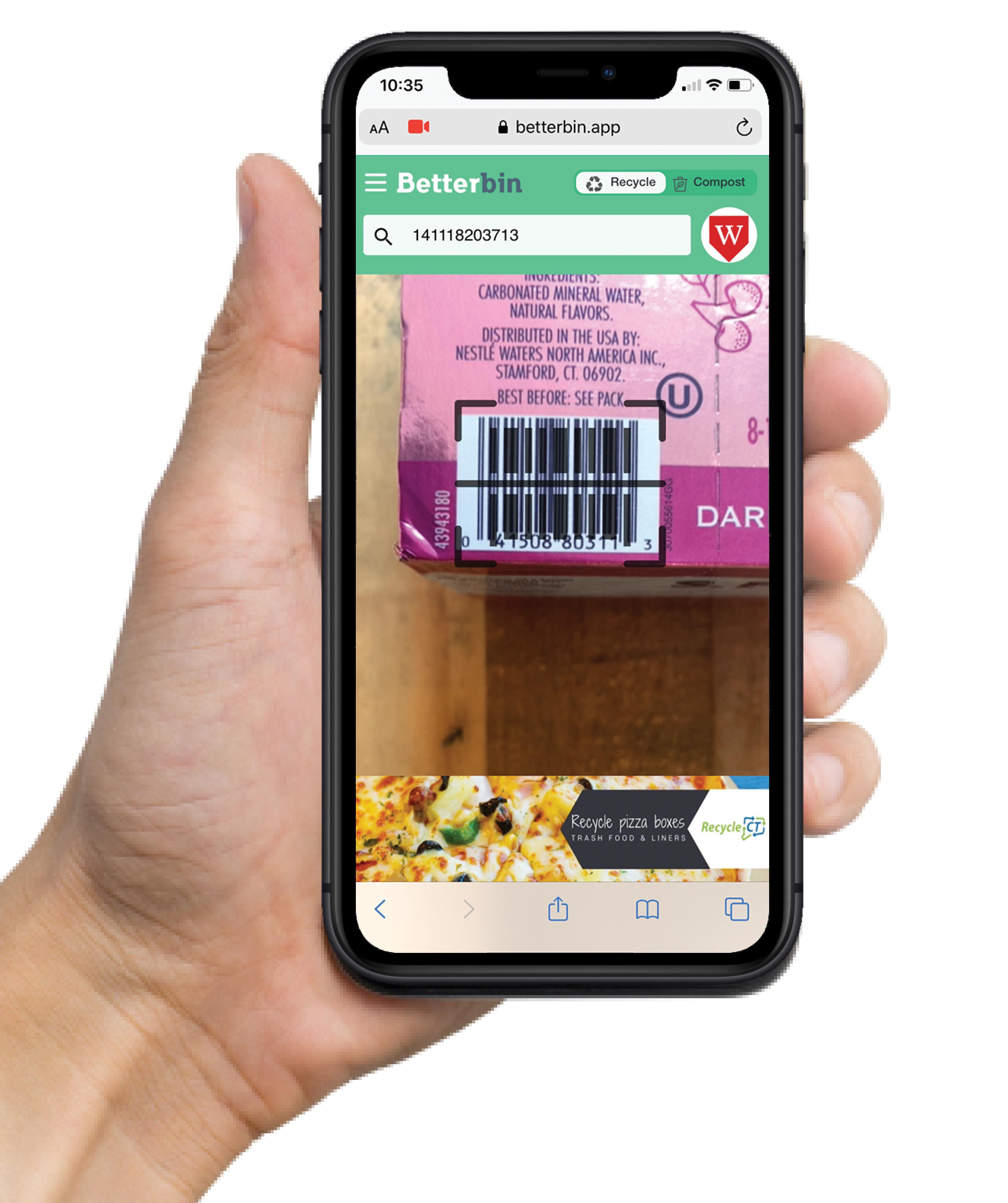 Betterbin app barcode scan function