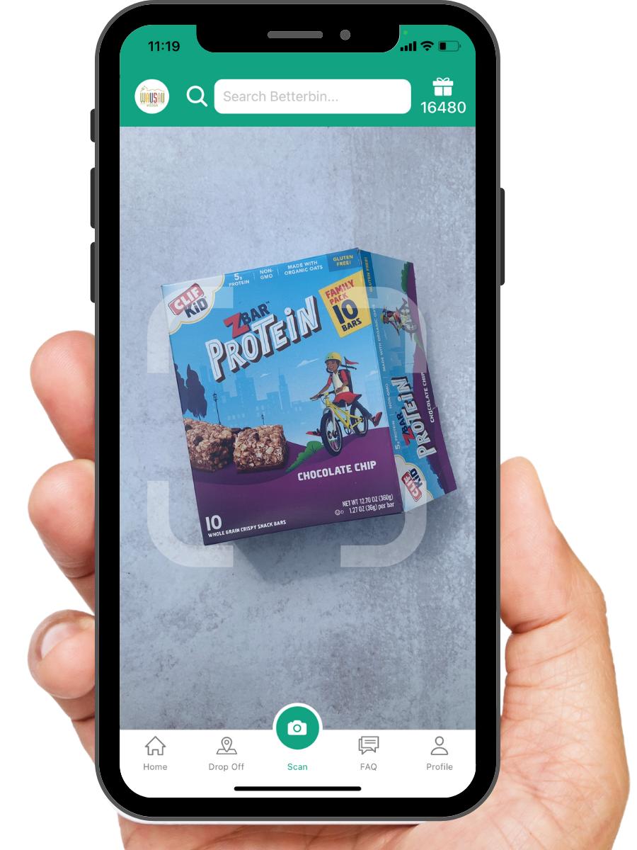 Hand holding Betterbin app on phone